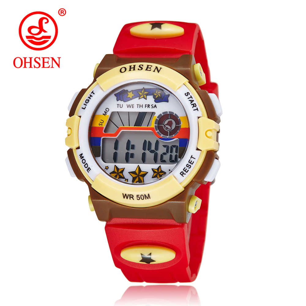 OHSEN Brand Fashion Children Sports Watches LED Digital Quartz Casual Kids Watch Boy Girl Student Multifunctional Wristwatches