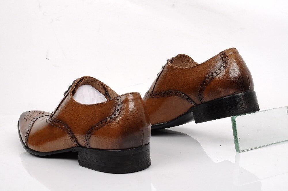 Graduación Dedo Los Hombres Cuero Pie Black De Vestir marrón Boda Negro Nuevo Para Genuino brown Puntiagudo Del Zapatos Oxfords Niños Baile ZfUwx8