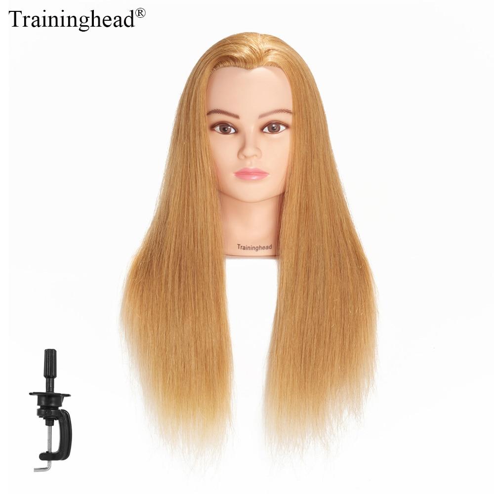 Traininghead 24-26 100% Human Hair Hairdressing Head Mannequin Head With Stand Mannequin Manikin Practice Head Blonde Women