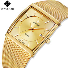 74a269f98 WWOOR العلامة التجارية الفاخرة رجل الساعات الذهب مربع الكوارتز ووتش الرجال ساعة  اليد الصلب شبكة الذهبي · 4 اللون