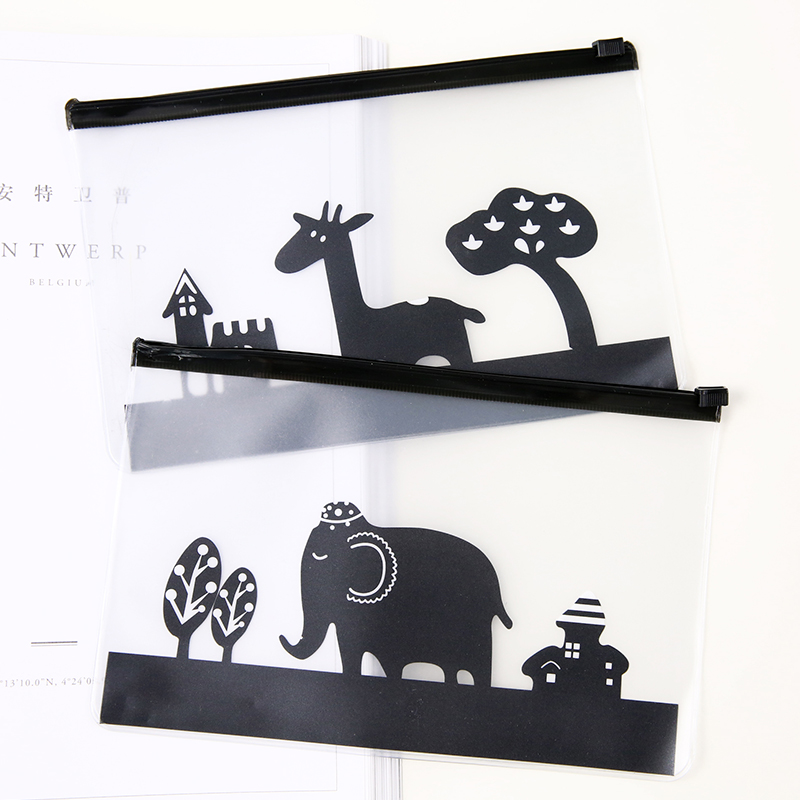 R22 Kawaii Clear Cute Animal PVC Pen Bag Pencil Case Storage School Supplies Ctreative Stationery Cosmetic Case Makeup Phone Bag