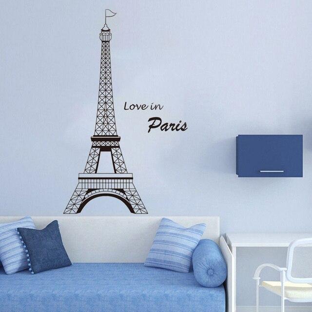 Башня Любовь в Париже Настенная Наклейка для гостиной домашняя отделка спальни плакат виниловое Настенное Украшение съемное украшение LY1308