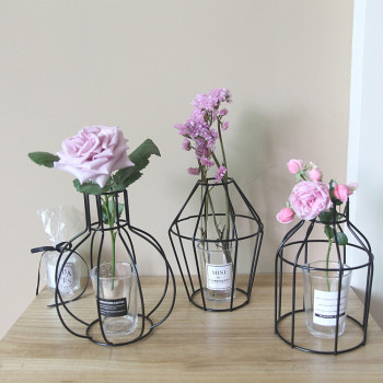 Iron Shelving Artificial Flower Vase Garden Home Decor room Decoration