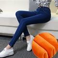 2016 Winter Warm thick velvet skinny jeans Pants for woman Plus size 34 33 Blue demin trousers Skinny ladies pant Femme Pantalon