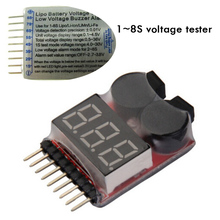 Free shipping 1-8S Low Voltage battery tester Buzzer Alarm 1-8S LED Low Voltage Buzzer Alarm Lipo Voltage Indicator checker f00872 lipo battery voltage tester volt meter indicator checker dual speaker 1s 8s low voltage buzzer alarm 2in1 2s 3s 4s 8s