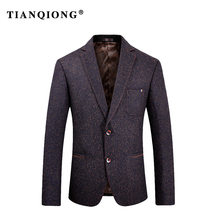 TIAN QIONG 2018 New Winter Autumn Wool Blazer Men Slim Fit Men Blazer Designs Costume Homme Contrast Color Terno Masculino M-3XL(China)