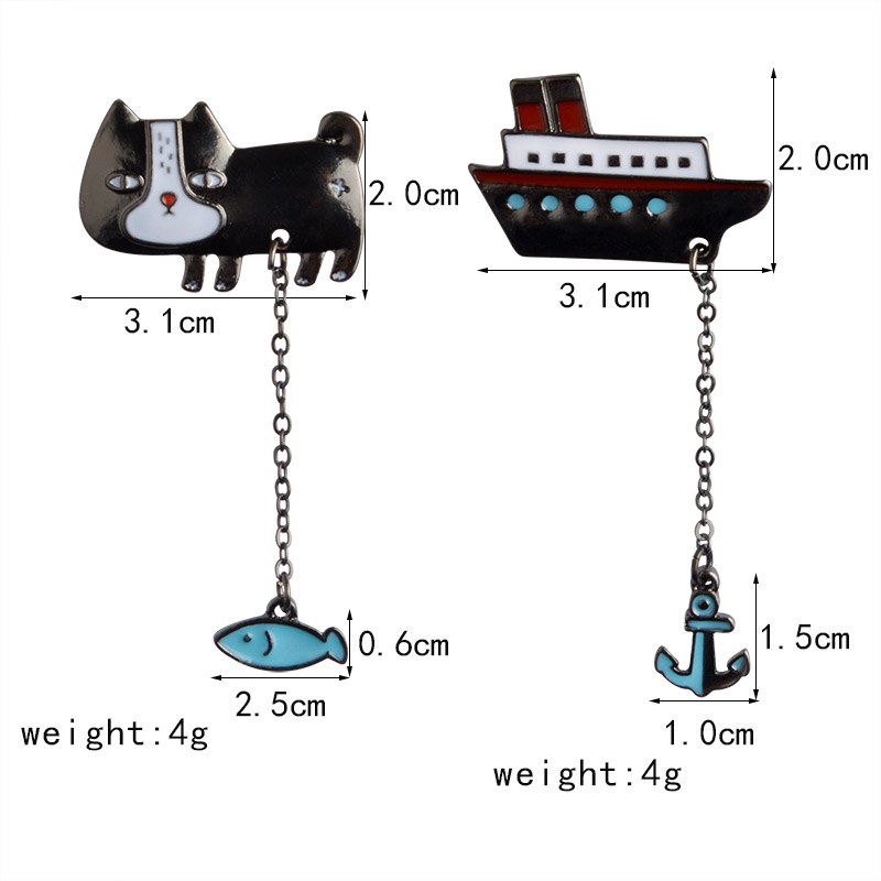 Cute-Cartoon-Cat-Kitten-Fish-Sailing-Boat-Metal-Brooch-Pins-with-Chain-DIY-Button-Pin-Denim(1)