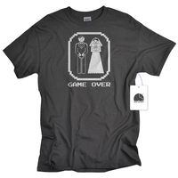 EnjoytheSpirit Funny Wedding Groom Gift Game Over Bride And Groom Shirt Bachelor Tshirt Cotton Round Neck