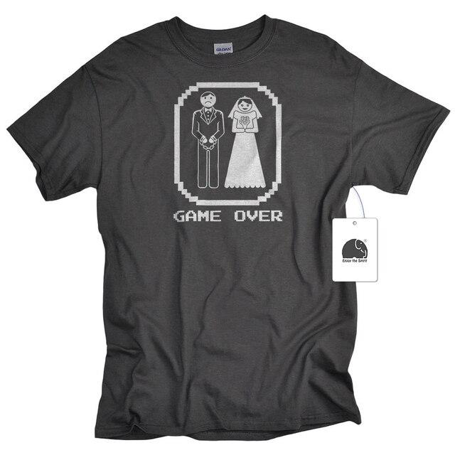 74f706b08e EnjoytheSpirit Funny Wedding Groom Gift Game Over Bride and Groom Shirt  Bachelor Tshirt Cotton Round Neck T-shirt for Men