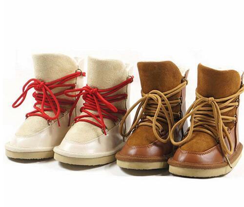 Genuínos Crianças Botas de couro lã de Carneiro engrossar Meninas bota de neve da pele de carneiro Suede lace-up sapatos princesa crianças Sapatos de inverno