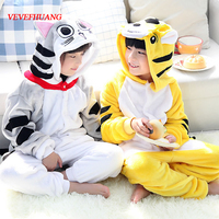 VEVEFHUANG Winter Flannel Unisex Kids Pajamas Anime Cosplay Tiger Onesie Sleepwear Children Cheese Cat Pijama For