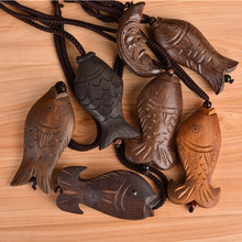 Wooden Vintage Necklace Big Pendant