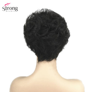 Image 4 - StrongBeauty Synthetic Wig Short Curly Hair Black/White Wigs Womens