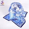 Azules Pequeños Cuadrados Bufanda de Verano Nueva Llegada de La Manera de Las Señoras Ropa Accesorios Bufanda de Seda Del Otoño Del Resorte Satén Bufanda