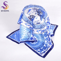 Blue white Small Square Scarves For Summer New Arrival Fashion Apparel Accessories Ladies Silk Scarf Spring Autumn Satin Scarf