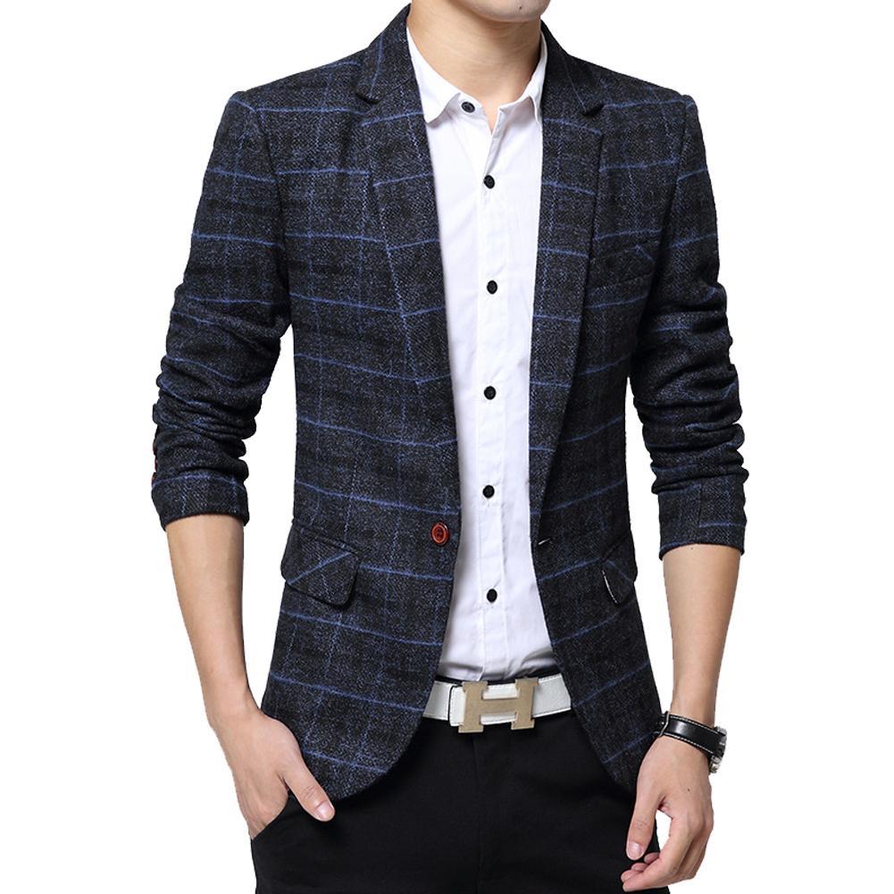 New Arrival Luxury Men Blazer Men Fashion Slim Fit Casual Suit Blazer Coat Jacket Outwear Top Grid Pattern