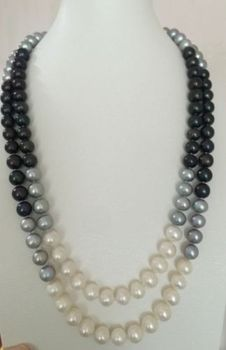 single 9-10mm south sea round multicolor pearl necklace 45inch 14k/20 gold