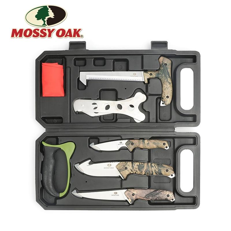 MOSSY OAK 8PC Tool Set Hunting Knives Saw Sharpener Latex Gloves Skeleton Field-to-Freezer Hunt Processing Set бинокль leupold bx 2 cascades 10x42 mossy oak