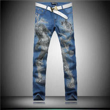 Novelty Print Man Jeans Fashion Designer Blue Trousers