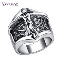 YAKAMOZ New Arrival Gothic Silver Color Cross Carving Male Rings Vintage Punk Cool Signet Ring Women Men Jewelry Wholesale