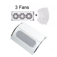Jewhiteny Nail Dust Suction Collector Vacuum Cleaner Manicure Salon Tools with 3 Powerful Fan EU/US Plug Nail Art Equipment