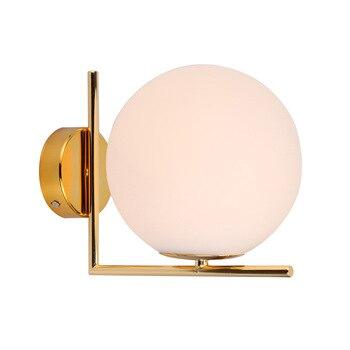 Moderne Nordic Glas Meta Schwarz/gold Ball Retro Vintage Wand Lampe E27 Loft Für Cafe Schlafzimmer Foyer