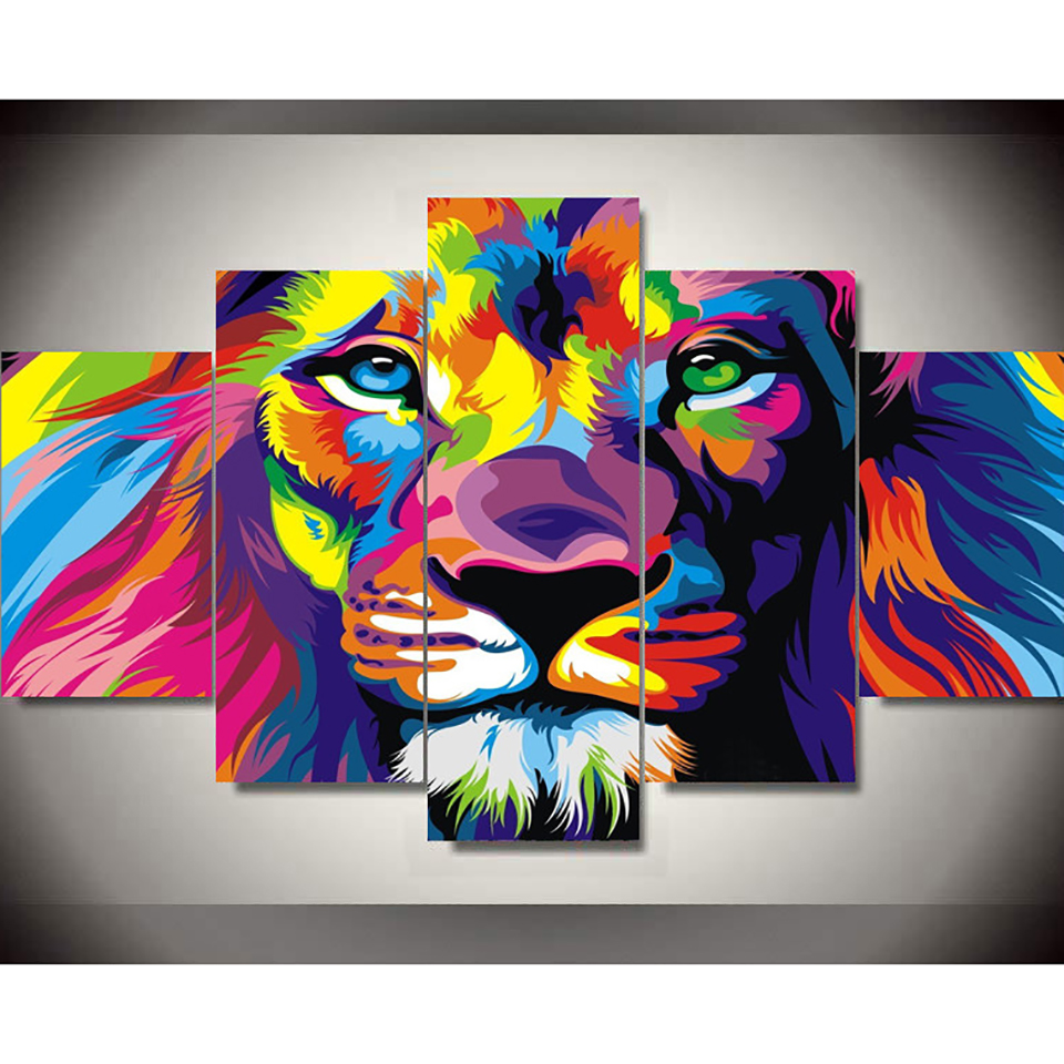 Canvas Art Prints Poster Wall Modular Picture Home 5 Panel Animal Lion Decoration Living Room Modern Paintings Artwork