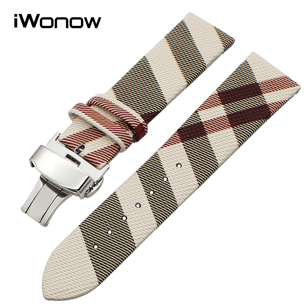 14/16/18/20/22mm Grid Leather Watchband for Titoni Michel Herbelin Parnis Unizeit Watch Band Steel Butterfly Buckle Wrist Strap
