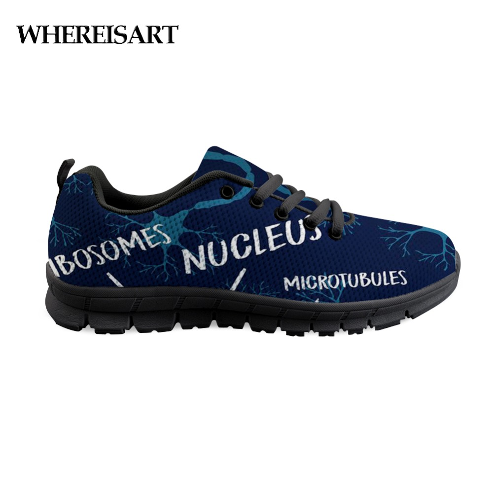 WHEREISART New Shoes Men Casual 2019 Optometry Science Pattern Shoes Man Flats Letter Blue Sneakers Walking Shoe For Men Boys