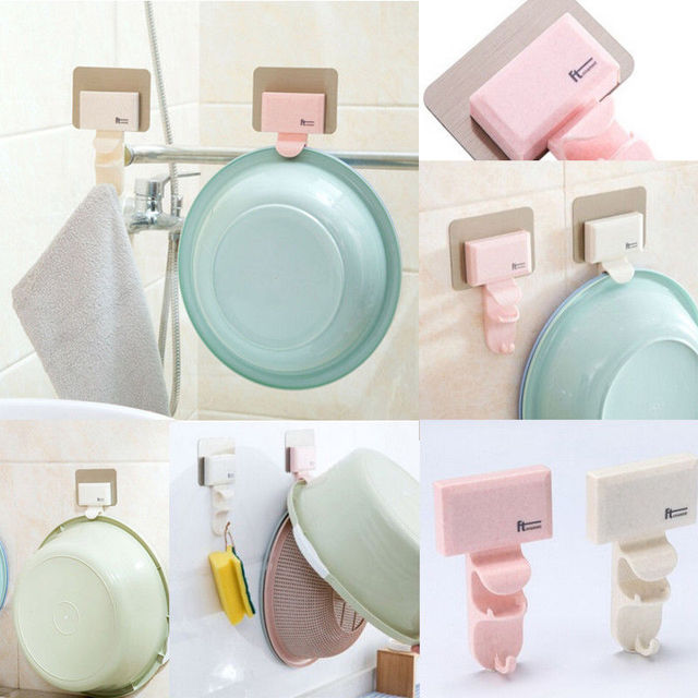 Newest On Stock Bathroom Kitchen Hanger Adhesive Hooks Stick Wall Hanging Door Clothes Pots Basket