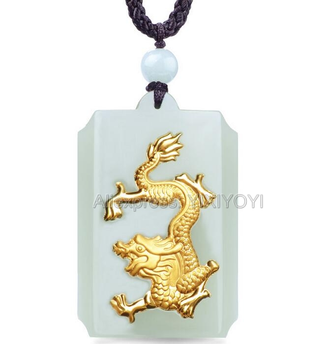 Jade Hetian blanc naturel + 18 K or massif incrusté Dragon pendentif chanceux + collier de corde bijoux fins + certificat pour femme homme