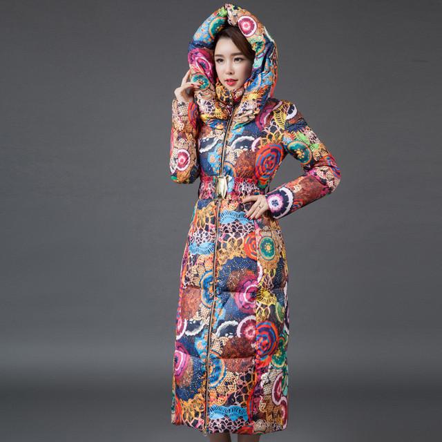 2016 mulheres Moda inverno Longo casaco jaqueta de impressão das mulheres era fina para baixo de algodão acolchoado casaco grosso blusão plus size