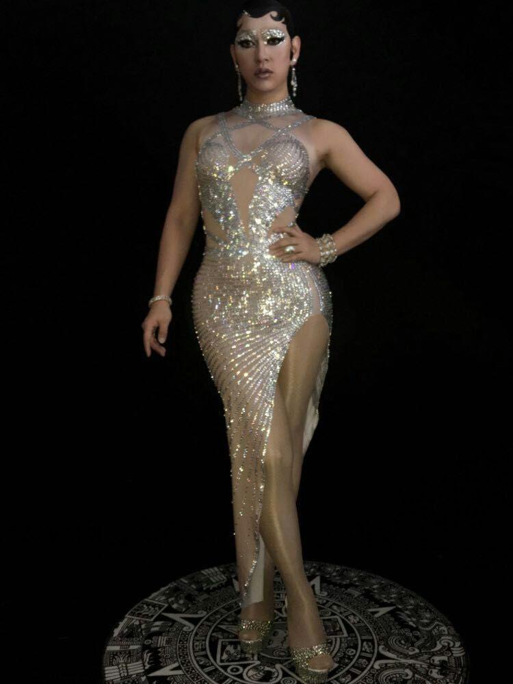 Пикантные Блестящие Серебряные Камни длинное платье со стразами отпраздновать день рождения комбинезон наряд костюм ночной клуб певица од