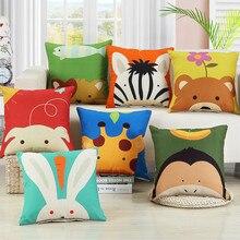 цена на Colorful Lovely Cartoon Animal Printed Cushion Cover Linen Throw Pillowcase Car Sofa Pillow Cover Kids Room Decorative 45x45cm