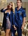 Envío Libre Pareja de Dormir Twinset de Las Mujeres de Seda de la Emulación Robe Sets Turn-Down Collar Hombres Pijama Amante Dulce camisa de Dormir venta