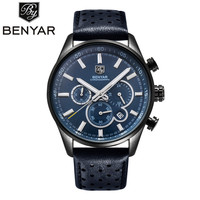 BENYAR Men Watch Top Brand Luxury Quartz Watch Mens Sport Fashion Blue Analog Leather Male Wristwatch Waterproof Clock