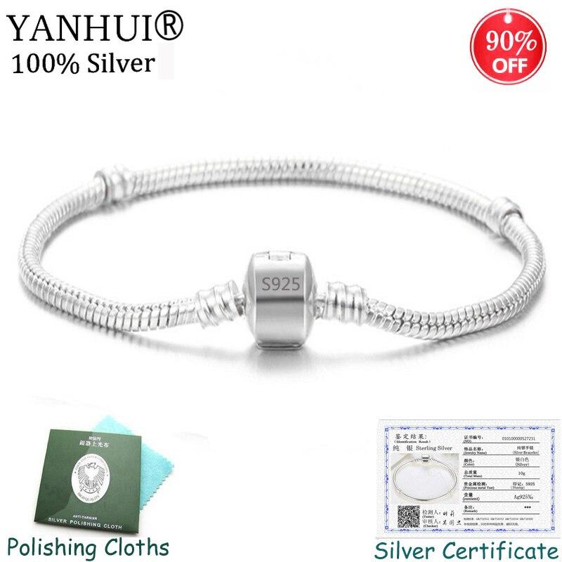 Carte de certificat envoyée! Original 925 solide argent serpent os Bracelet à breloques bijoux de mariage pour les femmes de base chaîne Bracelet S-L005
