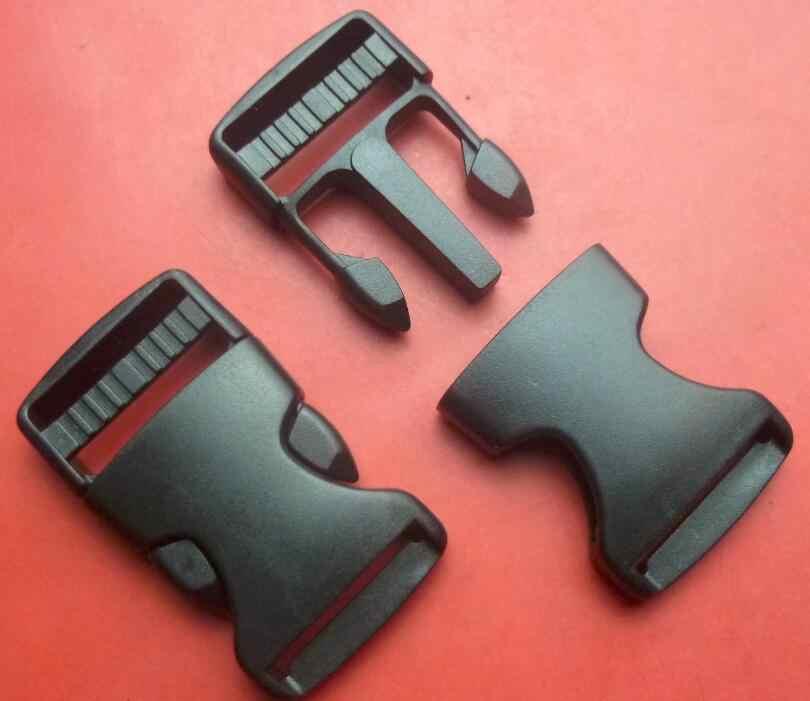 Outdoor Ransel Aksesori Plastik Hitam Dual Adjustable Keamanan Ganda Gesper Kunci untuk Taktis Sabuk Anyaman 38 Mm