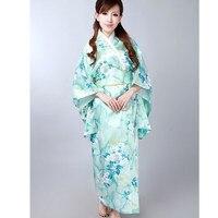 Fashion Light Blue Japanese Women's Silk Satin Kimono Yukata Evening Dress Flower One Size Free Shipping H0047