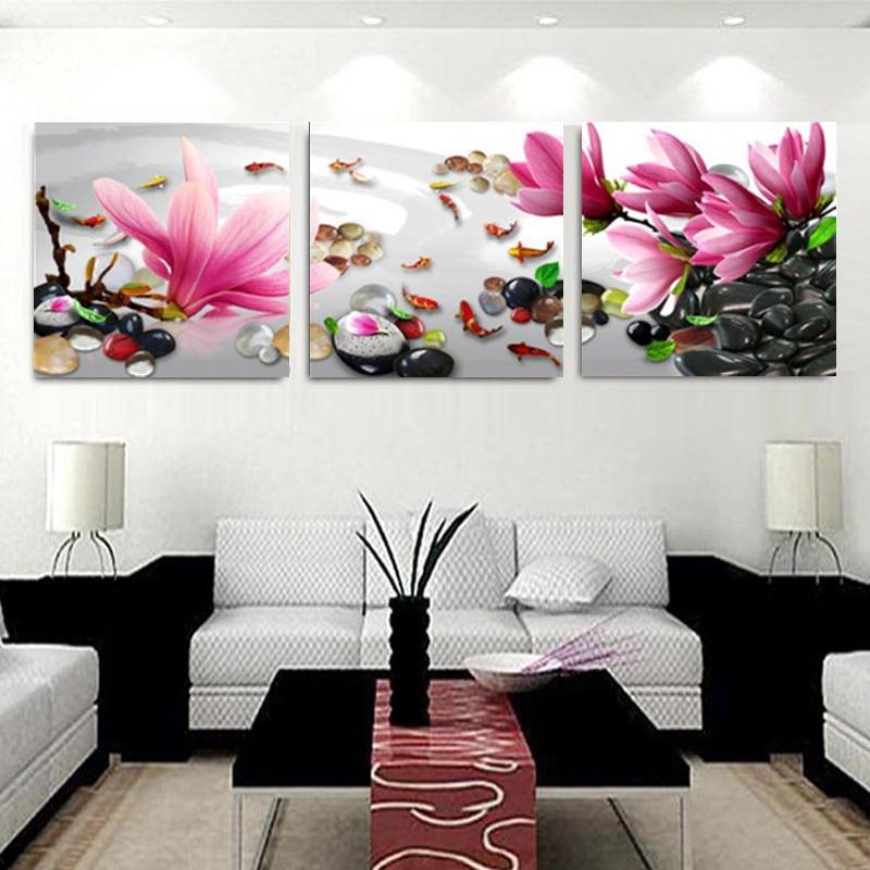 3 Pannelli Moderna Cina Vento magnolia fiori Pittura Su Tela Wall Art - Home decor
