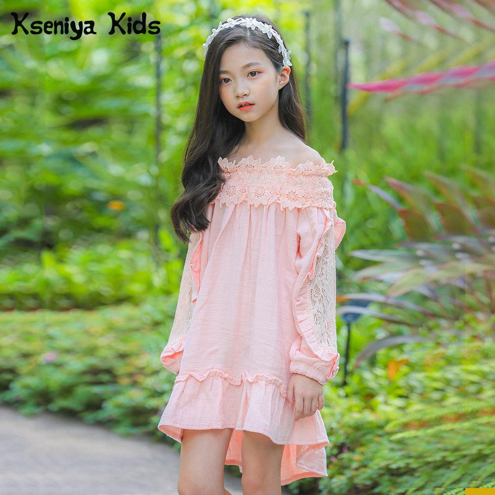 Kseniya Kids Teenagers Big Girls 2018 Spring And Autumn Princess Sweet Cute Long Sleeve Pink Big Girl Kids Dress Girls Clothes