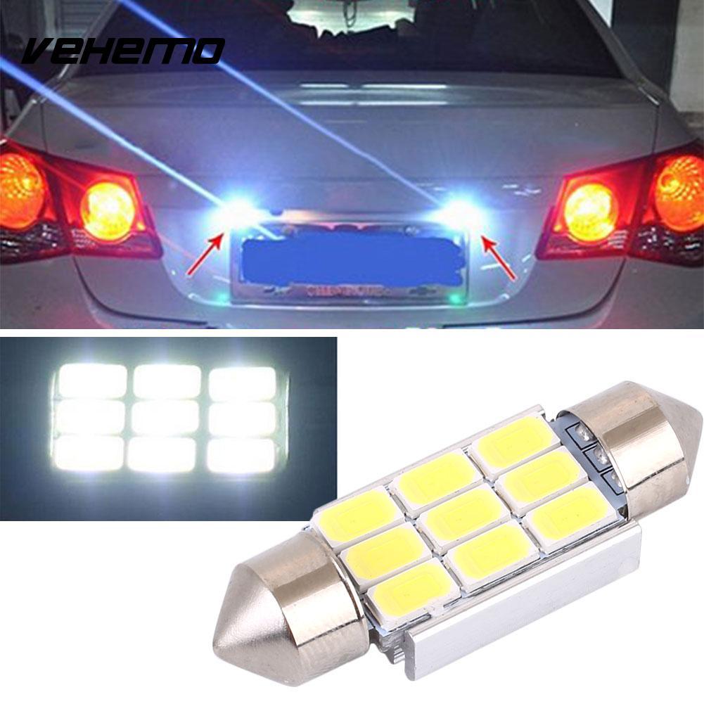 Vehemo Car Light Bulb License Plate Light Aluminum Alloy 220-240LM 12V 3W Long Life Lighting Fixture Automobile Outdoor Supply