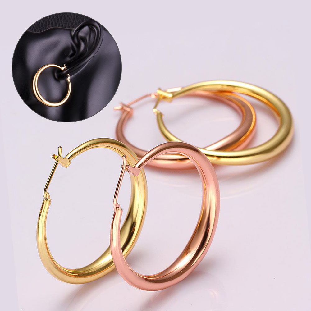 Fashion Concise Women Jewelry Rose Gold Plating Round Ear Hoop Earrings Ear Rings M31 ...