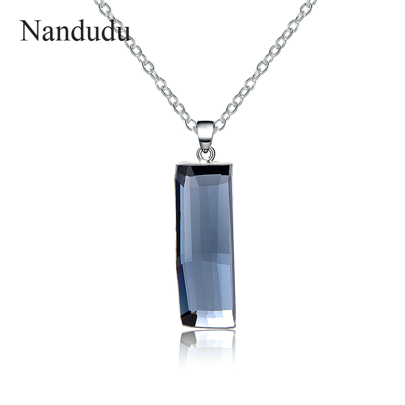 Nandudu Vintage High Quality Gray Austrian Crystal Pendant Necklace Fashion Accessories Chain Necklaces Jewelry Gift CN338