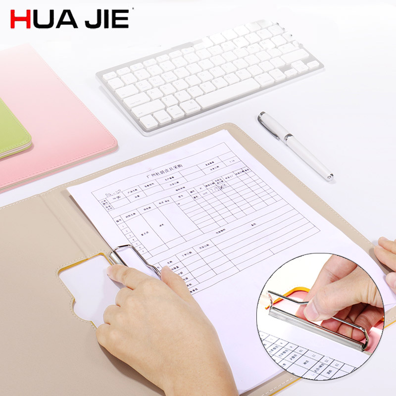 HUA JIE A4 Business Clipboards Folder for Drawing Macaron PU Leather Clip File Document Organizers Music Score Paper Desk Pads hua jie pu leather portfolio pocket folder card holders a4 paper file document organizer bag for meeting menu covers restaurants