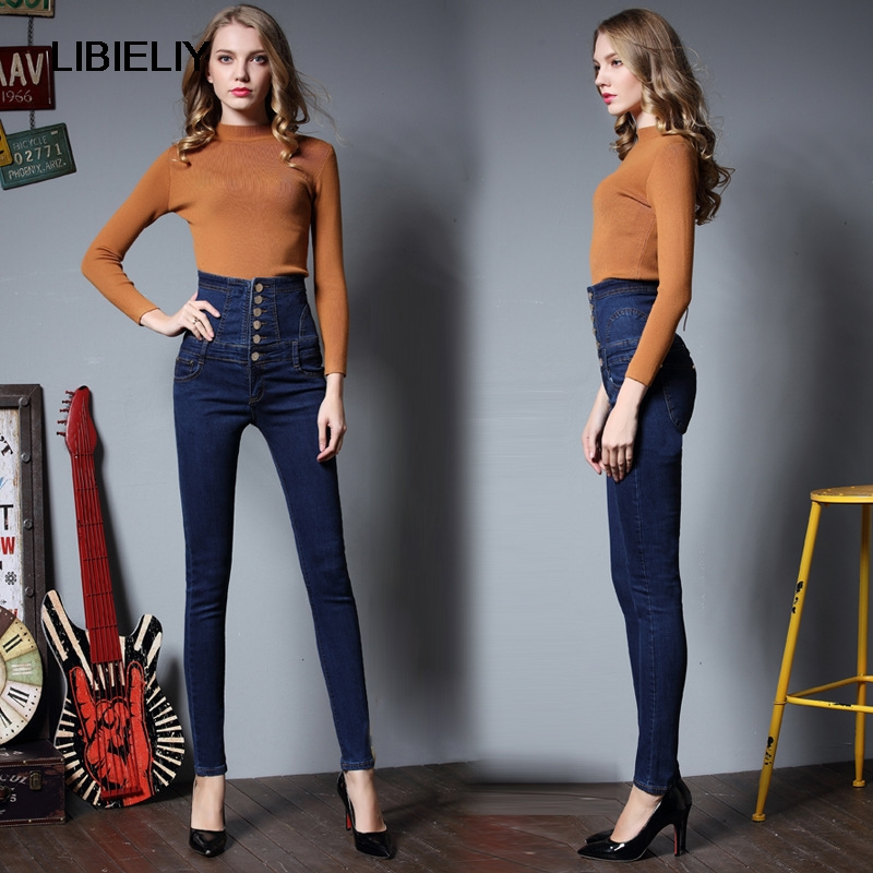 Dame double Belle Femmes Bouton Mince Blue Maigre Crayon Élégant Haute Sexy Black Denim Stretch Jean Marque Pantalon Vêtements Jeans Taille Breasted De dark qq156Cg