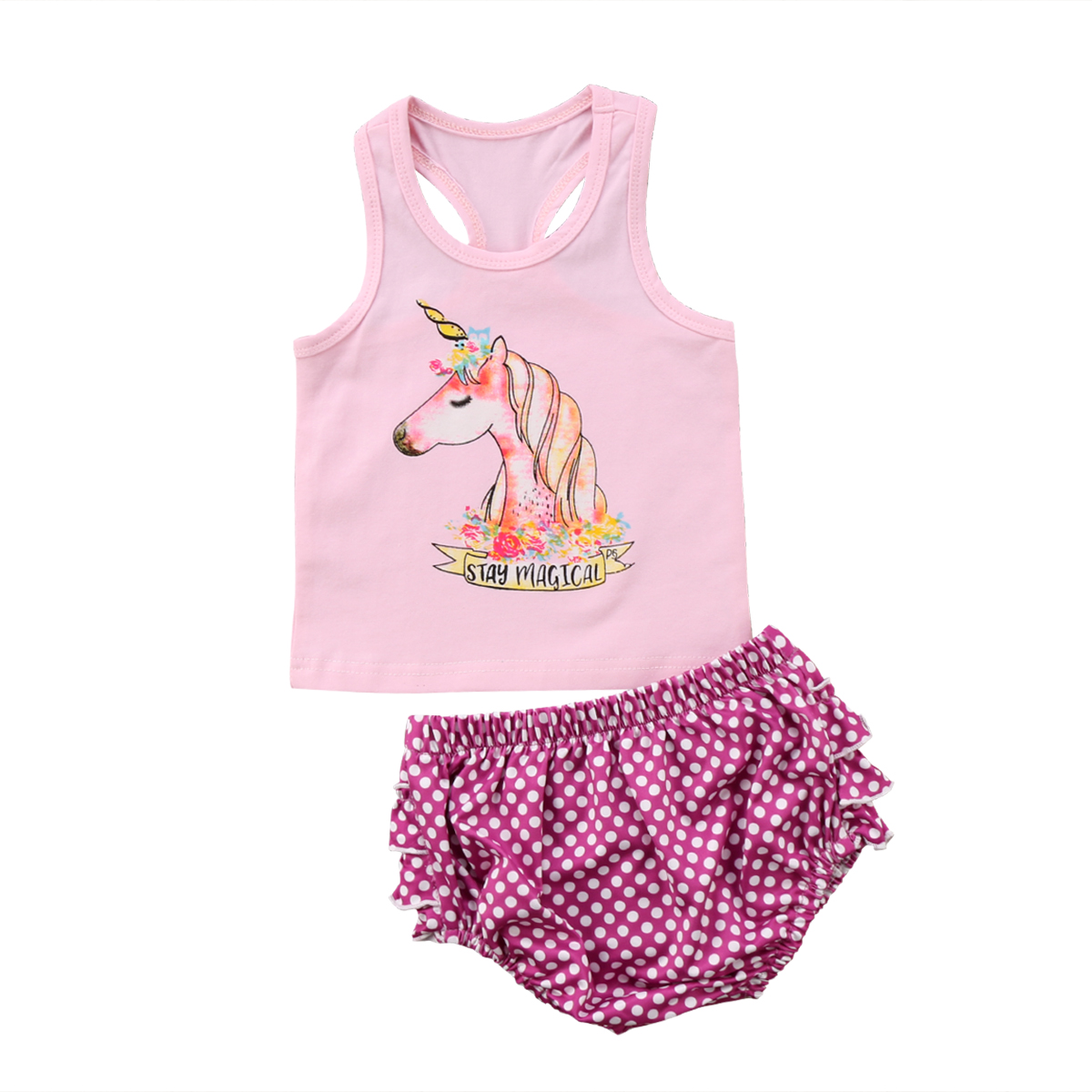 Newborn Toddler Baby Girl Unicorn Clothes Sets Tops Sleeveless Ruffled Shorts Summer New Outfits Set 0-2T