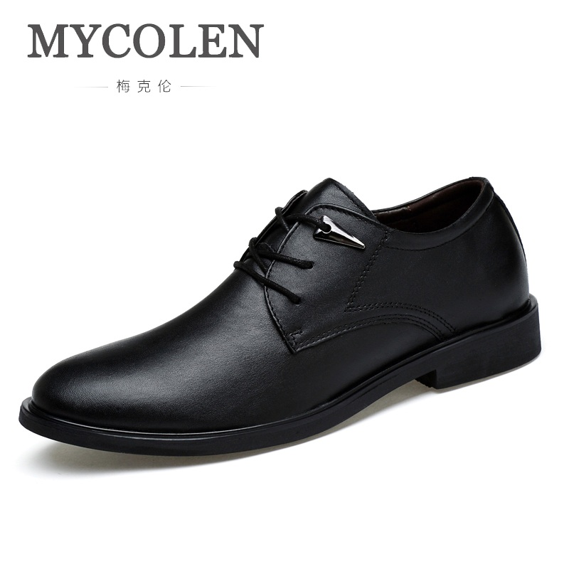 MYCOLEN 2018 New High Quality Genuine Leather Men Shoes Lace-Up Business Men Shoes Luxury Brand Top Fashion Male Formal Shoes business dress shoes fashion hot sale high quality brand genuine leather men lace up british formal shoes male footwear 42 43 44