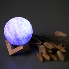 2 Color Moon Light Luna Night Lamp Diameter USB 3D Print Moon Lamp Dimmable Touch Usb Led Night Light Home Decor Creative Gift(China)
