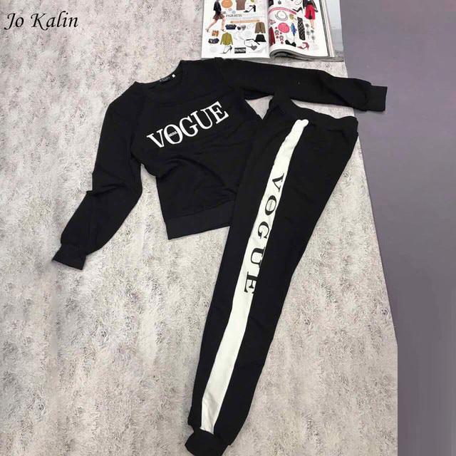 חדש סתיו חורף 2018 נשים 2 piece האופנה ווג מקרית בגדי אימונית לנשים קפוצ 'ון סווטשירט + מכנסיים ארוכים חליפת